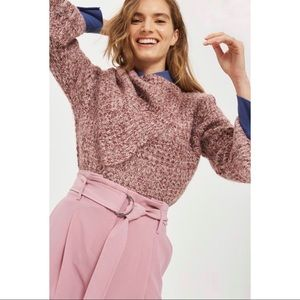 TOPSHOP Pink Lofty Envelope Neck Knitted Sweater 8